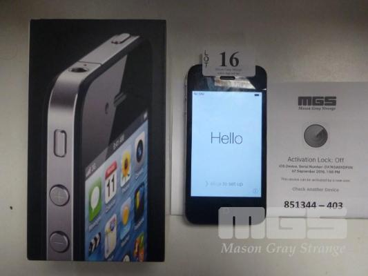 MOBILE PHONE, APPLE iPHONE 4, BLACK, 8GB, MODEL A1332, CABLE