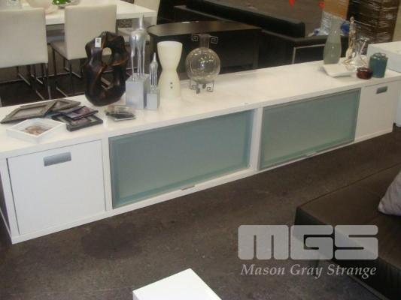 Lowline Entertainment Unit 300cm 4 Door White Modern Display Home Office Furniture